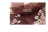 褐色墨迹花朵叶子底纹EPS画布