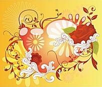 花朵藤蔓气泡和玫瑰花插画