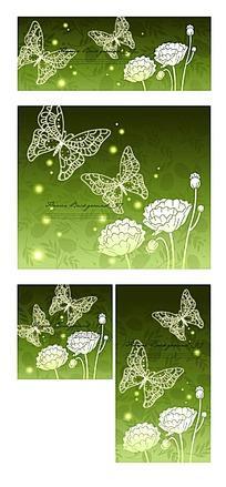绿色蝴蝶与花贺卡封面素材