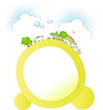 装饰着云朵村庄树木的黄色圆形边框和圆形图案
