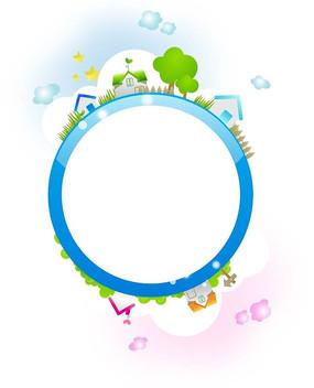 装饰着云朵五角星和村庄的蓝色圆形边框