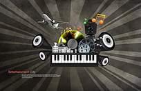 ktv音乐器材和发射状背景psd素材