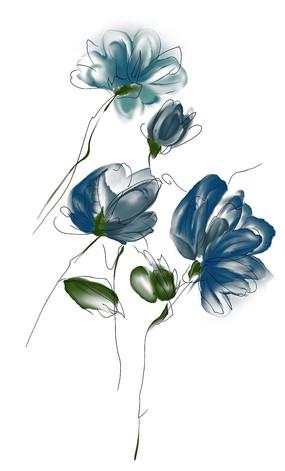 艺术水彩蓝色花朵绿叶背景素材