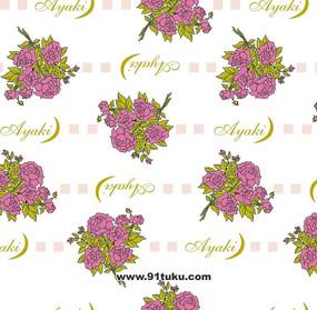 紫色浪漫的花朵绿叶背景素材