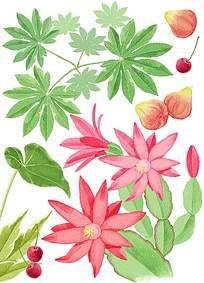 玫红花朵水墨背景素材