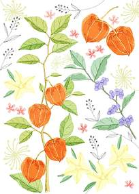 橘色花朵水墨背景素材