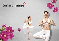 唯美女士瑜伽广告设计