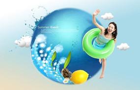 蓝色唯美女生游泳广告背景