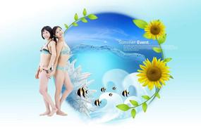 女生游泳广告背景设计