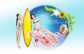漂亮女生游泳广告设计背景