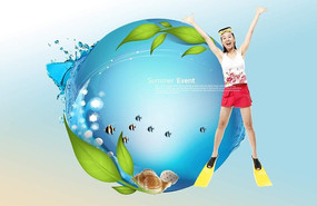 清凉夏季女生游泳广告设计