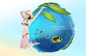 清凉一夏女生游泳广告背景