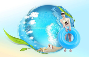 夏季女生游泳广告背景设计
