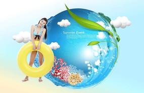 夏季女性游泳广告背景设计