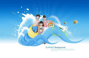 儿童夏季游泳广告设计素材
