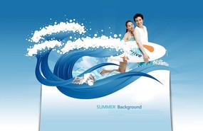 蓝色清凉夏季游泳广告背景设计