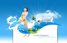 漂亮女性游泳广告背景设计