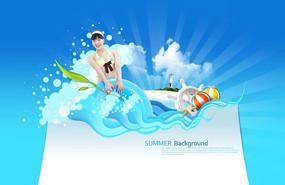 清凉女生夏季游泳广告设计