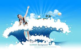 清凉女生游泳广告设计