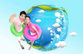 清凉情侣游泳广告设计