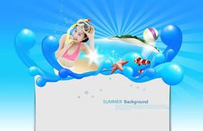 唯美女生夏季游泳广告背景
