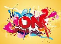 创意色彩水墨矢量素材