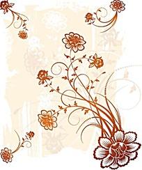 淡雅古典花紋背景矢量