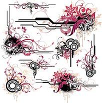 古典風花紋矢量設計