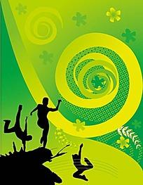 绿色街舞背景人影剪影矢量素材