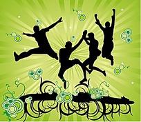 跳跃的人剪影绿色背景矢量素材
