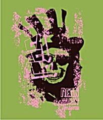 粉色喷墨骷髅头抽象图案矢量素材