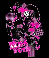 粉色骷髅头抽象图案矢量素材