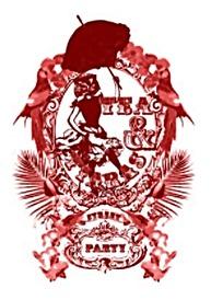 红色花纹骷髅头抽象图案矢量素材