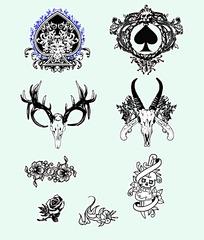 精致花纹骷髅头抽象图案矢量素材