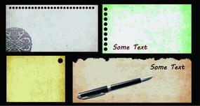 复古纸张钢笔矢量背景素材