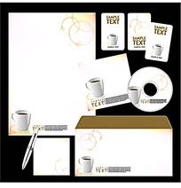 白色咖啡杯CD封面信封信纸卡片设计模板