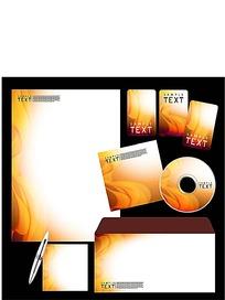 橙色线条CD封面信封信纸卡片设计模板