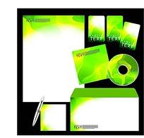绿色炫彩CD封面信封信纸卡片设计模板