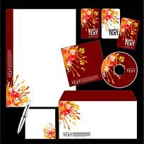 暖色花蕊CD封面信封信纸卡片设计模板