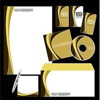 时尚线条CD封面信封信纸卡片设计模板