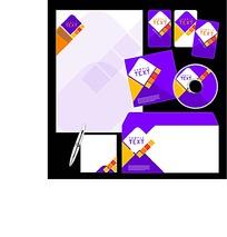 紫色CD封面信封信纸卡片设计模板