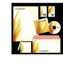 橙色火焰CD封面信封信纸卡片设计模板