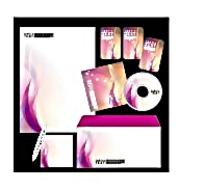粉色炫彩CD封面信封信纸卡片设计模板