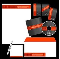 鲜明撞色CD封面信封信纸卡片设计模板