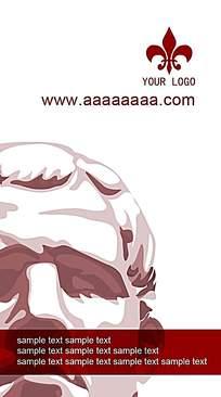 红色人头雕像名片背景素材