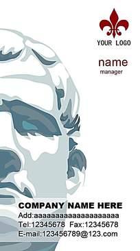 蓝色人头雕像名片背景素材