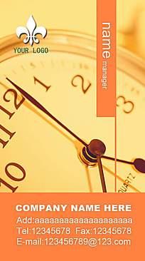 时钟橘色名片背景素材