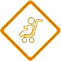 残疾人黄色菱形标志图案素材