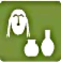 陶瓷面具绿色简约图案标识
