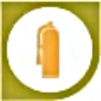 灭火器橘色绿色简约标识素材